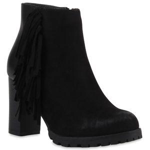 Mytrendshoe Damen Stiefeletten Fransen Ankle Boots Profilsohle 77651, Farbe: Schwarz, Größe: 37