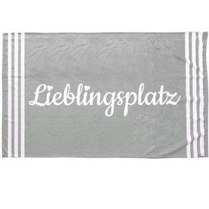 XL Strandlaken 180cm x 90cm Lieblingsplatz Handtuch Strandhandtuch Badetuch Strandlaken Sprüche Grau