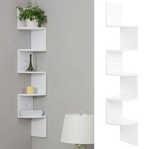 Eckregal Hängeregal Wandregal Bücherregal Regal Küchenregal 5 Ablagen, 20x20x122cm, Weiß