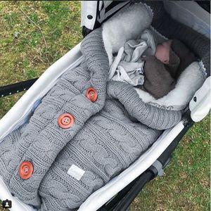 Baby Strick Wickelwickel Wickeldecke Winter Warmer Schlafsack Grau Farbe Grau