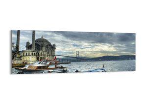 """Glasbild - 140x50 cm - """"An der Grenze der Welten""""- Wandbilder  - Istanbul Moschee - Arttor - GAB140x50-2102"""