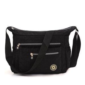 Damen Tasche Schultertasche Umhängetasche Nylon Handtasche Crossover Bag, Schwarz