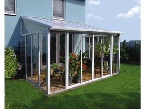 Palram Aluminium Wintergarten 3x5,5 m Veranda Sanremo weiß Pavillon Gartenpavillon Überdachung Gartenhaus Terrassenüberd