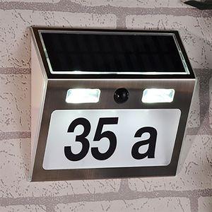 LED Solar Hausnummer mit Bewegungsmelder Edelstahl