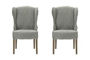 SIT Möbel Ohrensessel 2er-Set | Bezug Baumwolle hellbraun | Beine Eiche grau | B 65 x T 74 x H 105 cm | 12606-31 | Serie SIT&CHAIRS