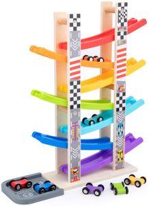 Kleinkindspielzeug für 1 2 3 Jahre,hölzernes Auto Ramp Racer Spielzeugfahrzeug Set mit 7 Mini-Autos & Rennstrecken