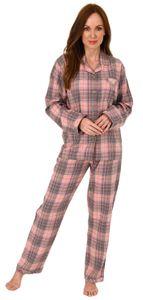 Damen Flanell Pyjama Schlafanzug kariert mit Knopfleiste und Hemdkragen - 202 201 15 600, Farbe:Karo grau, Größe:44/46