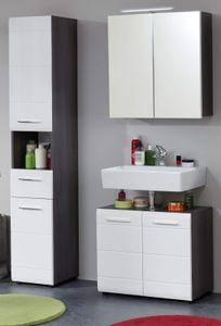 Badezimmer Möbelset 3-teilig Badmöbel Line in weiß Hochglanz grau Rauchsilber Bad Set Breite ca. 115 cm
