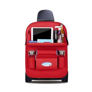 Rückenlehnenschutz Luxus Autositzschutz aus Kunstleder mit faltbarem Tablethalter wasserdicht Rückenlehnenschutz Rückenlehnen-Tasche für Kinder (Dunkelrot - 1 Pack)