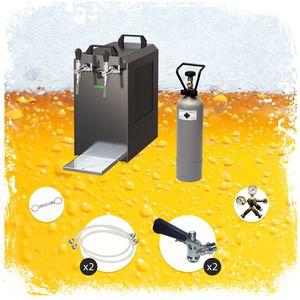 Komplett Set - Zapfanlage STREAM 80 Bierkoffer, Durchlaufkühler 2-leitig Trockenkühler, Zapfkopf:Korb, Zapfkopf 2:Köpi