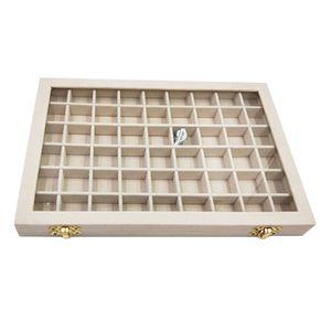Samt Schmucklade Schmuckvitrine Ohringhalter Ringhalter, 24-Slots Beige Glasdeckel Tablett 31 x 22 x 2,8 cm