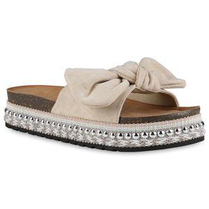 Giralin Damen Sandaletten Pantoletten Schleifen Nieten Plateau Schuhe 837628, Farbe: Beige, Größe: 40