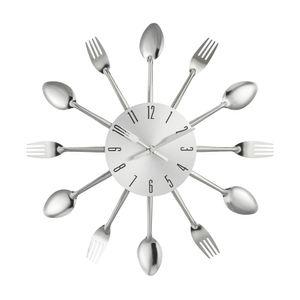 """Design Wanduhr """"Besteck"""", 25 cm, Küche, Deko, Kochen, Küchenuhr, Geschenk (silber)"""
