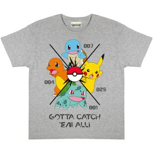 Pokemon - Gotta Catch Em All T-Shirt für Jungen PG768 (128) (Grau meliert)
