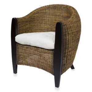 BARI Sessel aus Rattangeflecht mit Massivholzgestell inkl. Sitzpolster, bicolor-farbig