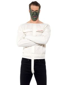 Psycho-Kannibalenkostüm für Herren Halloween-Kostüm weiss-grau