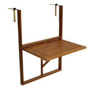 DEGAMO Hängetisch Balkontisch Balkonhängetisch 60x40cm, Akazie geölt, verstellbare Halterung