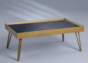 Couchtisch / Sofatisch Tom 3 in gold, schwarz - Metall, Glas