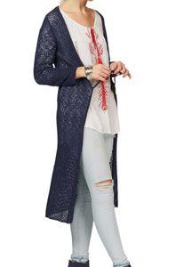 LTB Damen Marken-Longstrickjacke, blau, Größe:XS