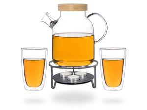 Kira Teeset / Teeservice / Teekanne Glas 1,6 liter mit Tüllensieb, Bambusdeckel, Stövchen Metall und 2 doppelwandige Teegläser je 360ml