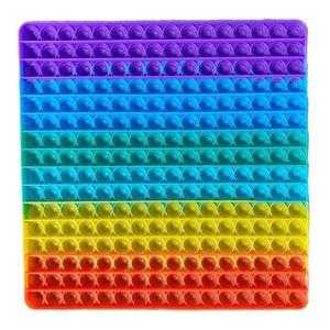 Große Regenbogenfarben Push Pop It Pop Bubble Spielzeug,Verwendet für Autismus, Stress Abzubauen Braucht zappeln Spielzeug(Quadrat)