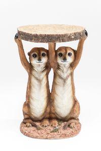 Kare Beistelltisch Meerkat Sisters Ø33cm ; Maße (HxBxT): 52 cm x 35 cm x 33 cm, 79748
