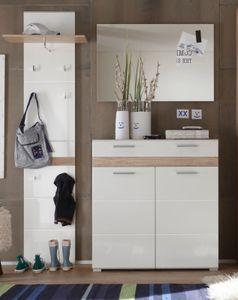 Flur Garderobenset Hochglanz weiß, mit Eiche San Remo (161x195 cm) 3-teilig - Garderobe Trendteam 133692396