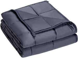COSTWAY Gewichtsdecke aus Bambusfaser und Baumwolle, Schwere Decke Anti Stress, Beschwerte Decke Grau, Gewichtete Decke, Weighted Blanket für Erwachsene und Kinder (122x183cm, 9,1kg)