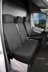Walser Sitzbezüge für Mercedes Sprinter und VW Crafter, Einzelsitz und Doppelbank vorne aus Polyester ab BJ 05/2006 - heute, 10496