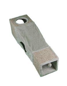 animal-design Katzentunnel kuschelige Katzenhöhle Katzenspiel-Versteck mit 4 Eingängen Schlauch Tunnel, Farbe:grau