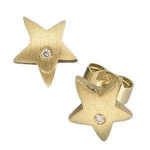 JOBO Ohrstecker Stern 585 Gold Gelbgold mattiert 2 Diamanten Brillanten Ohrringe
