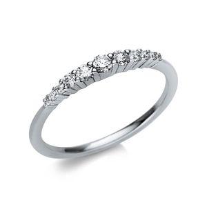 Ring aus 585 Gold Weißgold Breite: 2,3mm mit 11 Brillanten 0,24ct TW-vsi/si, Ringgröße:Innenumfang 54mm  Ø17.2mm