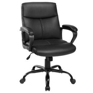 SONGMICS Bürostuhl mit Kunstleder-Bezug   Schreibtischstuhl Chefsessel höhenverstellbar Wippfunktion Sternfuß aus Stahl schwarz OBG39BK