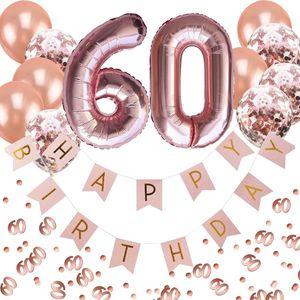Oblique Unique 60. Geburtstag Party Deko Set - Girlande + Zahl 60 Ballons + Konfetti Luftballon Set + Konfetti