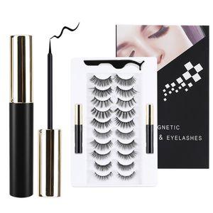 Magnetische Wimpern mit Eyeliner-Kit, 10 Paar wiederverwendbare 3D-Magnetwimpern mit 2 Tuben Magnetic Eyeliner, Pinzette