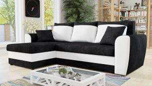 Mirjan24 Ecksofa Domo,  Eckcouch mit Bettkasten und Schlaffunktion, L-Form Sofa, Seite Universal, Design Ecke vom Hersteller (Alova 04 + Soft 017)