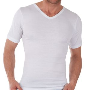 3er Pack Herren V-Neck T-Shirt Feinripp Exclusive Weiss-6