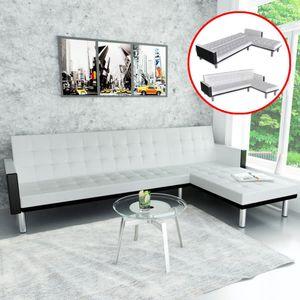 Ecksofa Eckcouch Schlaffunktion L-Form Couch Schlafsofa mit Schlaffunktion Kunstleder Weiß