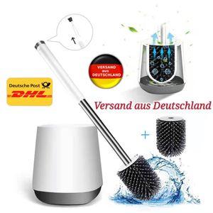 Toilettenbürste, Silikon WC Bürste und Halter mit schnell trocken Behälter und Edelstahl Griff, Premium Klobürste für das Bade Zimmer, Toilettenbürstenhalter
