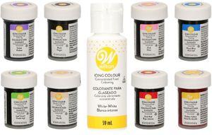 Wilton Lebensmittelfarben/Glasurfarben  8er Set plus Weiß (8 x 28g + 59ml)