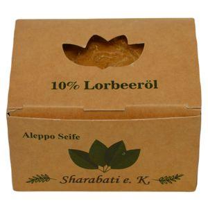 Sharabati Original Aleppo Seife 90/10, 170g - 90% Olivenöl 10% Lorbeeröl, Seife hergestellt in Aleppo - für normale Haut