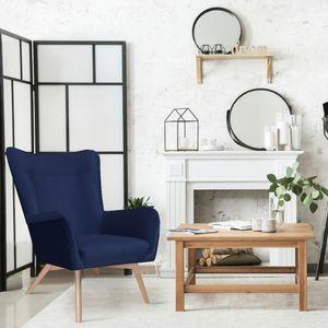 Selsey Sessel FIANNA - Ohrensessel mit wasserabweisendem Stoffbezug in Dunkelblau und hellen Holzbeinen, Sitzfläche 52 x 54 cm