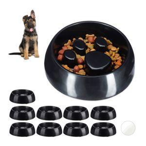 relaxdays 10 x Anti Schling Napf Hundenapf Fressnapf Langsames Fressen Futternapf schwarz