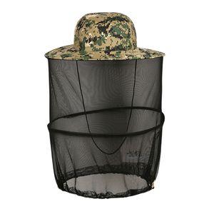 Mosquito Head Net Hat Safari Wandern Angeln Hüte Sonnenschutz Eimer Boonie Hüte für Männer Oder Frauen Im Freien Farbe Camo Green