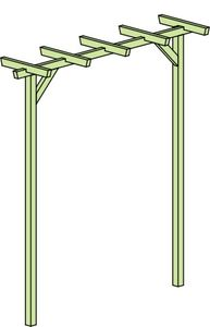 Pergola Terniflora einfach - Abmessung: 225 x 60 x 240 cm (B x T x H)