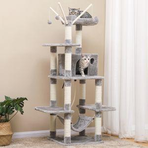 FEANDREA Kratzbaum XXL 154cm mit Höhle und Spielsisal für 3-4 Katzen hellgrau PCT86W