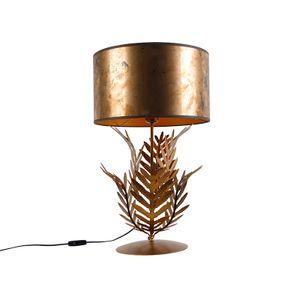 QAZQA - Landhaus | Vintage Vintage Tischlampe Gold | Messing mit Bronzeschirm - Botanica | Wohnzimmer | Schlafzimmer - Stahl Länglich - LED geeignet E27