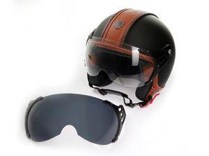 Motorradhelm Jethelm Rollerhelm CMX Hazel matt schwarz mit Leder braun inkl. Visier getönt : L