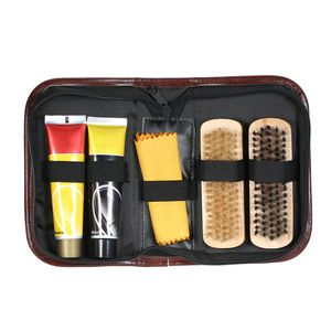 6PCS Shoe Shine Care Kit Schwarz und Neutral Polish Brushes fuer Boots Schuhe Sneakers Style 3