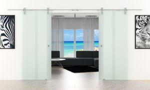 Doppel-Glasschiebetür 1550 x 2050 mm 2 Streifen-Senkrecht-Design (T) Levidor® Edelstahl-System komplett Laufschienen / Laufrohre und Muschelgriffen Schiebetür aus Glas für Innenbereich